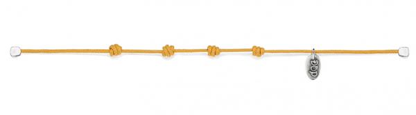 Basis  Kordel-Armband senfgelb gewachste Baumwolle und Silber