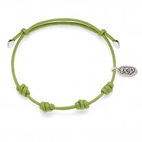 Basis grūner Apfel Kordel-Armband gewachste Baumwolle und Silber