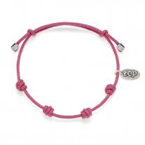 Basis Pink Kordel-Armband gewachste Baumwolle und Silber