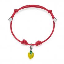Armband mit gelber Lemon Charm in Silber und Emaille