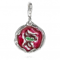 Margherita Pizza Charm in Silber und Emaille