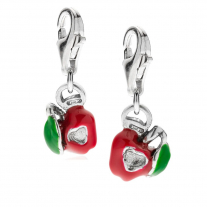 Left and Right Apple Heart Charms in Sterling Silver and Enamel