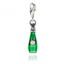 Prosecco Charm in Silber und Emaille