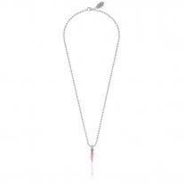 Mini Boule Halskette von 42 cm mit Chilipfeffer in Silber und rosa Emaille