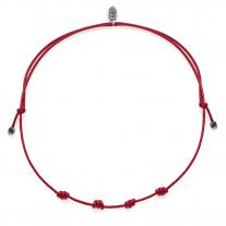 Rote Halskette Basis in gewachste Baumwolle und Silber