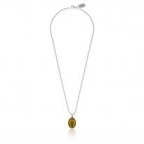 Boule Madonna Halskette in Silber und gelber Emaille von 42 cm Länge