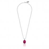 Boule Madonna Halskette aus Silber und rosa Emaille von 42 cm Länge