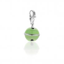 Charm-Glocke in Silber und grüner Emaille