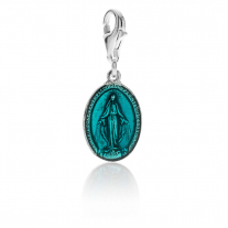 Miraculous Madonna Charm in Sterling Silver and Turquoise Enamel