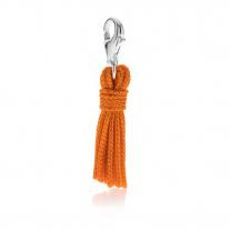 Quastenanhänger in orangefarbener Baumwolle und Silber