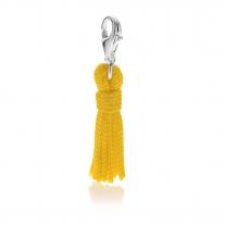 Quastenanhänger in gelber Baumwolle und Silber
