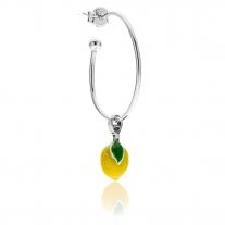 Mono Gelb Lemon Ohrring in Silber und Emaille