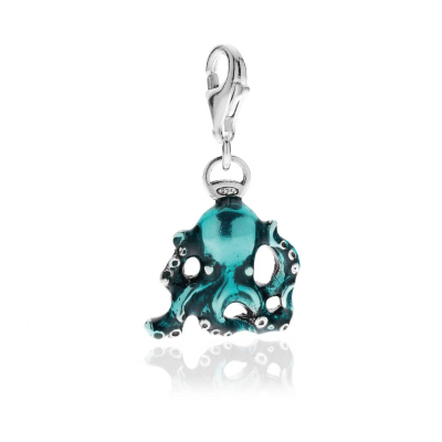 Charm Octopus in Sterling Silver and Enamel
