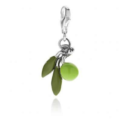 Olive Charm in Silber und Emaille
