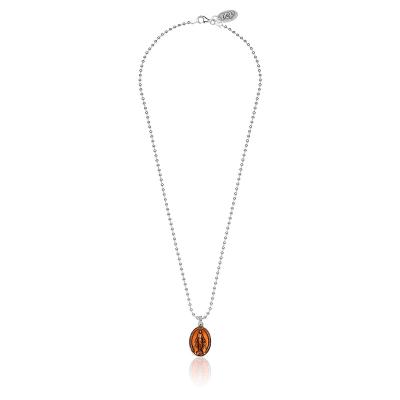 Boule Madonna Halskette in Silber und Orange Emaille von 42 cm Länge