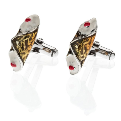 Cannoli Cufflinks in Sterling Silver & Enamel