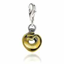 Homemade Tortellini Pasta Charm in Silver and Enamel