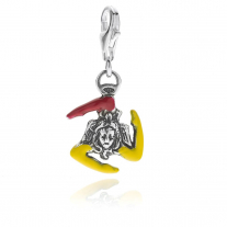 Trinacria Sicilia Charm in Sterling Silver and Enamel