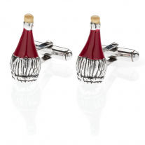 Chianti Wine Cufflinks in Sterling Silver and Enamel