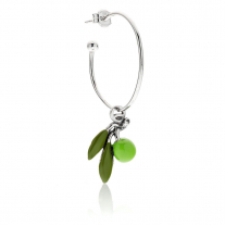 Large Hoop Single Earring with Olive Charm in Sterling Silver and Enamel