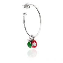 Large Hoop Single Earring with Left Apple Heart Charm in Sterling Silver and Enamel