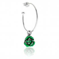 Large Hoop Single Earring with Salad Charm in Sterling Silver and Enamel
