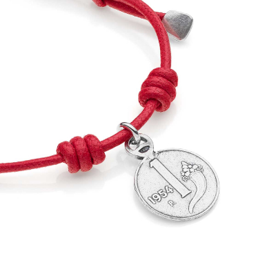 Cotton Cord Bracelet with 1 Lira Cornucopia Coin Charm Coin in Sterling Silver