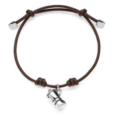Cotton Cord Bracelet with Moka Charm in Sterling Silver