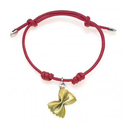 Cotton Cord Bracelet with Farfalle Pasta Charm in Sterling Silver and Enamel